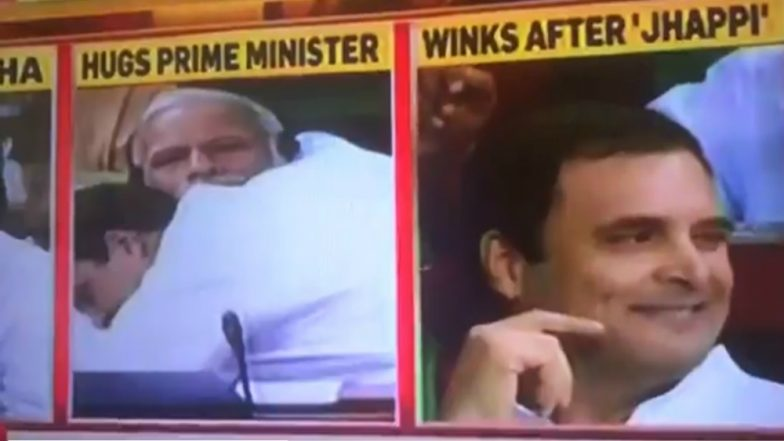 Rahul Gandhi Hugs PM Narendra Modi, Winks Inside Lok Sabha and Twitter is Ready With Funny Jokes and Memes