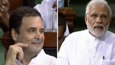 No Confidence Motion: Twitterverse Explodes over Rahul Gandhi's Wink After Hugging PM Modi