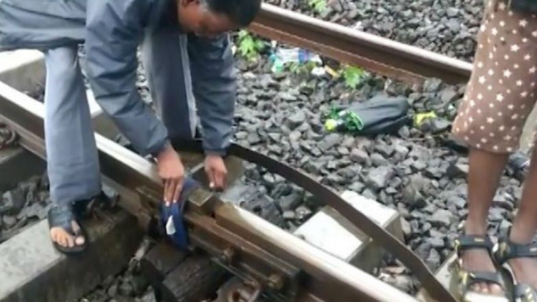 Mumbai Rains: Viral Video Claims Cloth Being Used to Bridge Fractured Track Near Mankhurd Station, Central Railway Clarifies