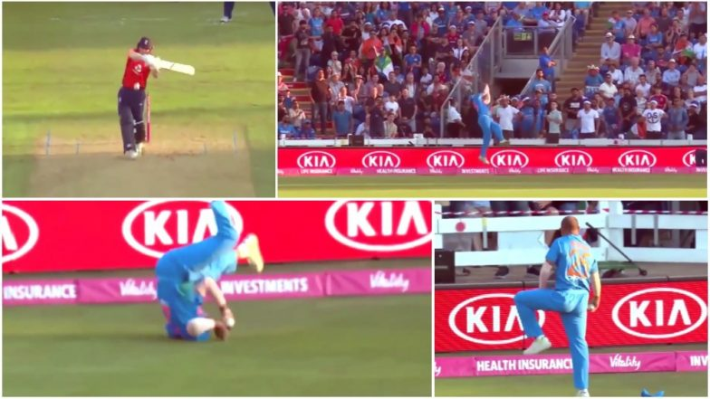 Shikhar Dhawan Takes One of Best Catches of All Time: Watch Video When Gabbar Sent Eoin Morgan Back During 2nd T20I Match at Cardiff!