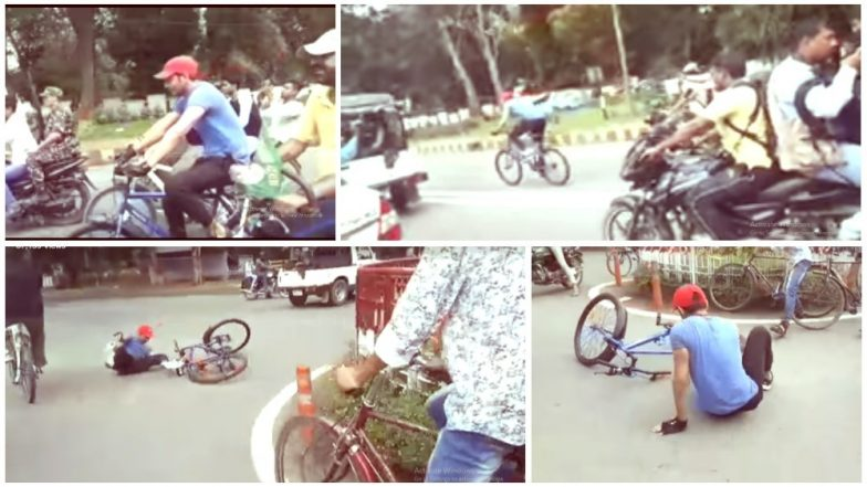 Tej Pratap Yadav Falls Off Cycle While Protesting Against Rising Fuel Prices; Watch Video