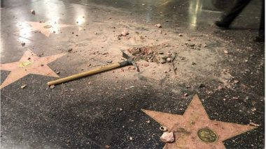 Donald Trump Star on Hollywood Walk of Fame Destroyed with a Hammer, Once Again (Watch Video)