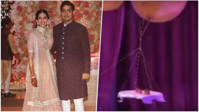 Food Served By Balloons at Antilia! Video of Unique Aerial Installations at Akash Ambani-Shokla Mehta's Engagement Goes Viral