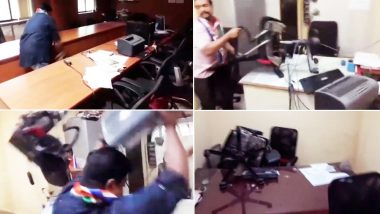 MNS Workers Ransack PWD Office in Navi Mumbai Over Pothole-Related Deaths; Watch Video