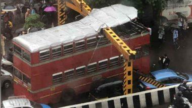 BEST Double-Decker Bus Crashes Into Overhead Railing Near Kalina University Amid Heavy Rains in Mumbai; Watch Video