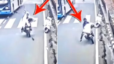 Hyderabad Motorist Hits Bike Into Priest Crossing The Road (Watch Accident Video)