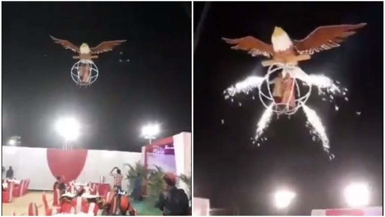 Most Stylist or Most Ridiculous Bride-Groom Entry at a Wedding Reception? Video of Couple Flying and Landing on Bird Cage Goes Viral