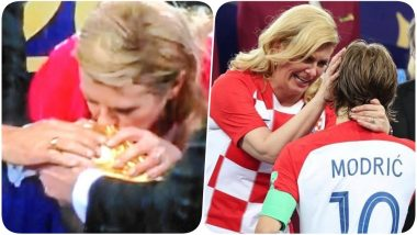 Croatian President Kolinda Grabar-Kitarovic Kisses the World Cup Trophy After Hugging Spree Despite France Winning the 2018 FIFA Final; View Pic