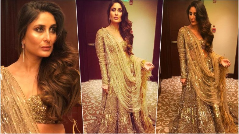 India Couture Week 2018 Day 2: Kareena Kapoor Khan Sizzles in Gold Lehenga as She Walks the Ramp for Falguni-Shane Peacock