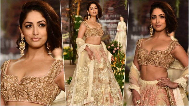 Yami Gautam Looks Stunning in Gold Lehenga with Delicate Floral Embroidery During India Couture Week 2018 (View Pics)