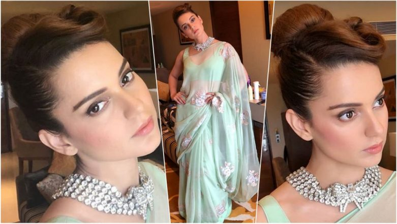 Kangana Ranaut's Scintillating Retro Look Has Got Us Hooked as She Attends an Event in Raipur (See Pics)