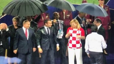2018 FIFA World Cup Final: Twitter Trolls Russia as Vladimir Putin Gets Umbrella Amid Rains, While Presidents of France & Croatia Get Drenched
