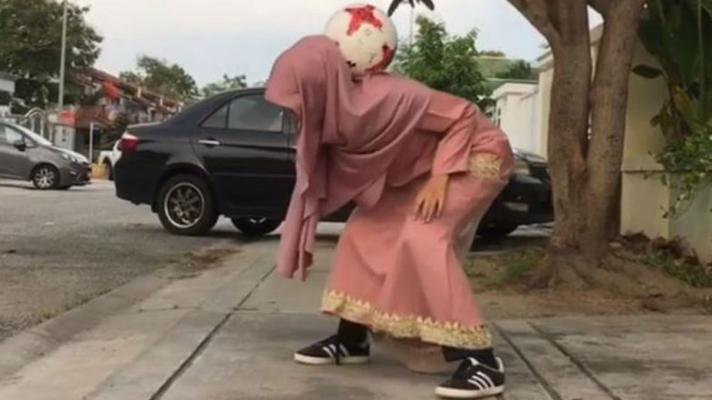 Watch! Headscarved Malaysian Girl Wows Social Media With Freestyle Football Skills