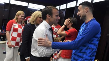 2018 FIFA World Cup Diaries: French President Emmanuel Macron Visits the Croatian Dressing Room and Congratulates Luka Modric's Team; Check Pics