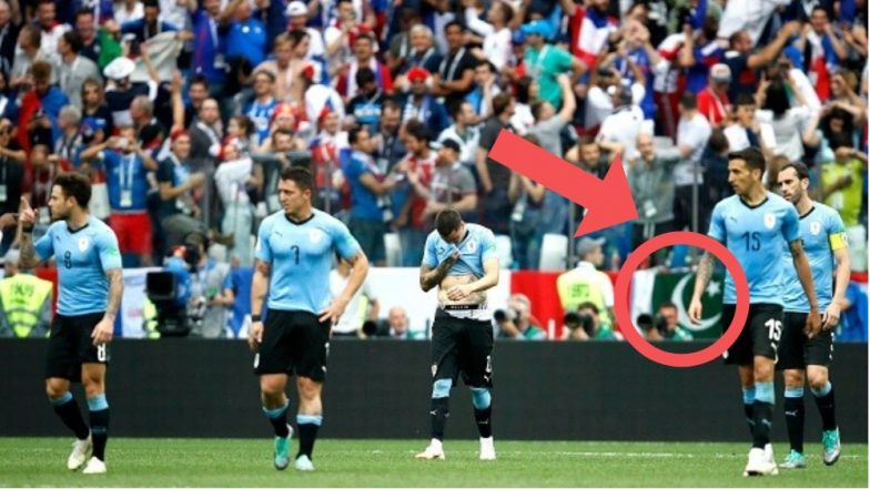 India, Pakistan Flags Spotted During Uruguay vs France 2018 FIFA World Cup Quarterfinal Match