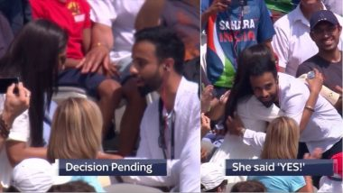 Guy Proposes a Girl on LIVE TV Who Said 'Yes': Watch Video of the Cute Proposal During IND vs ENG 2nd ODI