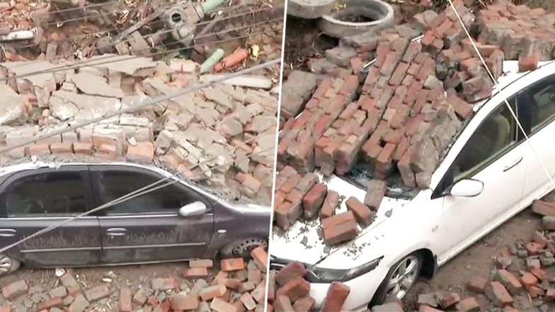 Ludhiana Rains: Wall Of Municipal Corporation Building Collapses Amid Heavy Rainfall, 2 Cars Damaged