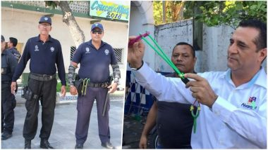 Mexican Police Officers Are Stripped of Their Guns & Armed With Slingshots & Stones