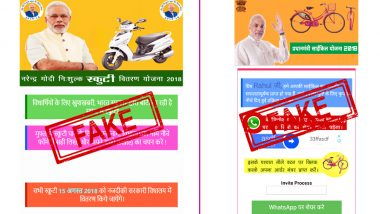 WhatsApp Fake News: After Free Cycles, New Message Says Narendra Modi Government Will Distribute Free Helmets And Scooters on August 15, 2018