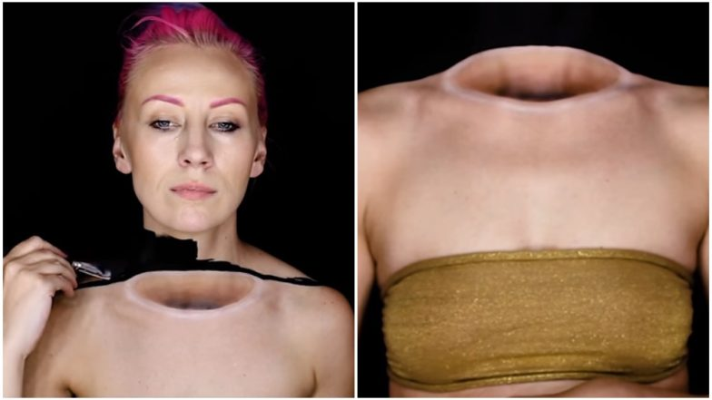 Make-Up Artist Mirjana Kika Milosevic Makes Her Head Disappear in Optical Body Illusion (Watch Spooky Video)