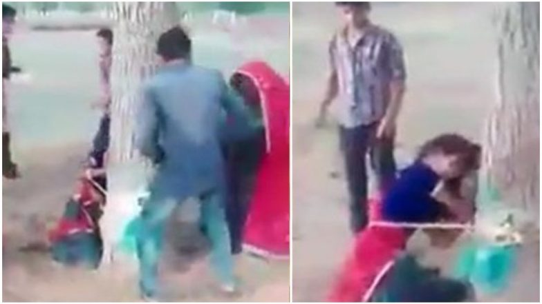 Rajasthan Horrifying Video: Woman Tied to Tree, Beaten Brutally With Sticks in Jhunjhunu District, Three Arrested