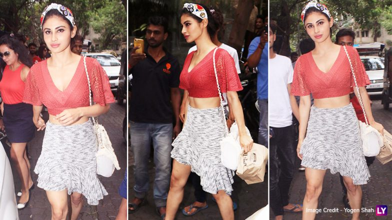 Mouni Roy Looks Red Hot in a Plunging Neckline Crop Top and Asymmetrical Skirt - See Pics