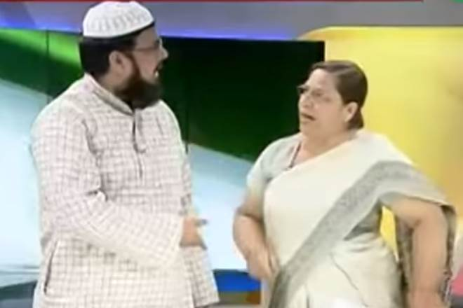 Maulana Ejaz Arshad Kajmi And SC Advocate Farah Faiz Get Into an Ugly Physical Fight During Triple Talaq Debate on LIVE TV at Zee Hindustan Show (Watch Video)