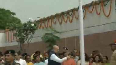 National Flag Falls While Amit Shah Hoists it During Independence Day Event, Congress Slams BJP Chief For Disrespecting Tricolour - Watch Video