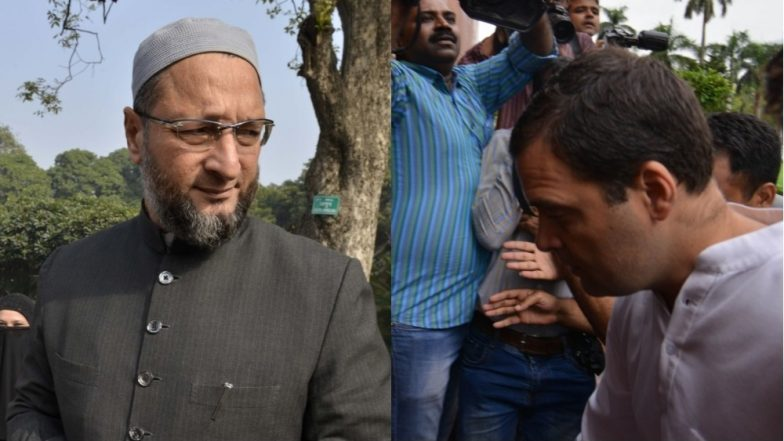 Asaduddin Owaisi Hits Out at Rahul Gandhi, Says Children Being Killed in The Name of Cow And You Are Hugging PM Modi