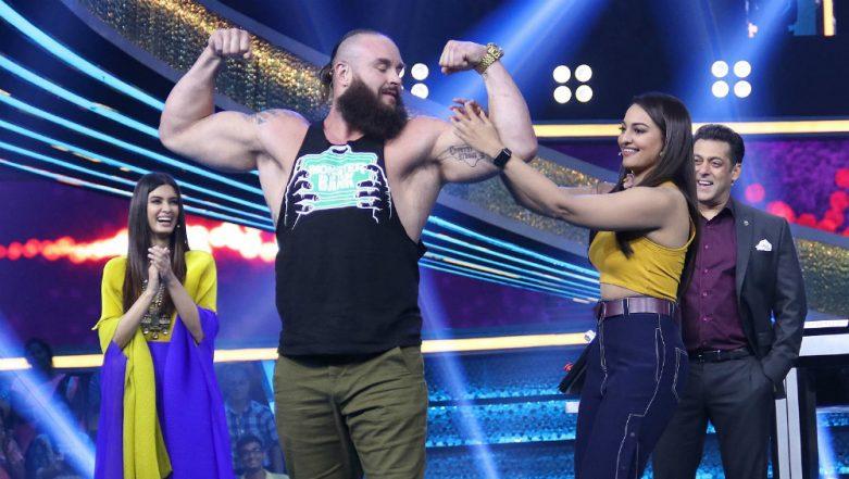 Bharat Superstar Salman Khan and WWE Star Braun Strowman Flex Muscles on Dus Ka Dum: View Pics!
