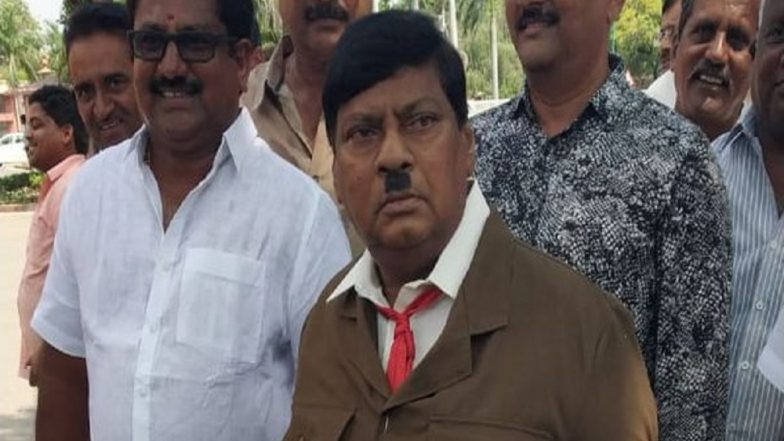 TDP MP Naramalli Sivaprasad Protests As Adolf Hitler In Parliament For Special Status To Andhra Pradesh: View Pic