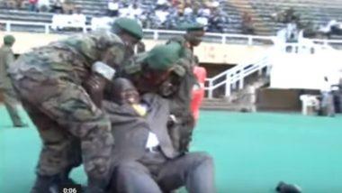 Uganda Deputy PM General Moses Ali Has a 'Mighty' Fall As He Tries Kicking a Football, Watch Video