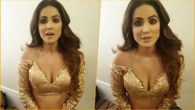 Hina Khan Shows Off Deep Cleavage in a Sexy Golden Top! Watch This Hot BTS Video