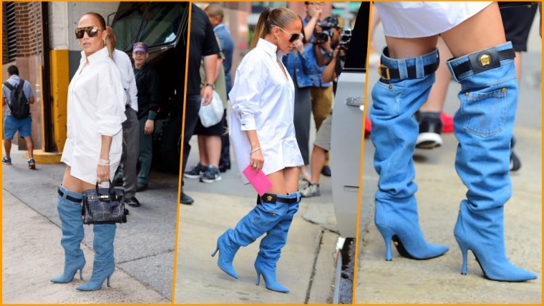 Jennifer Lopez Goes Pantless! Steps Out in Nothing but a Crisp White Shirt and Thigh-High Versace Denim Boots (See Pics)