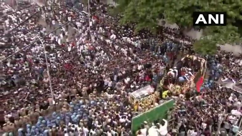 Karunanidhi's Final Journey Begins on Flower-Decked Military Vehicle From Rajaji Hall (Watch Live)