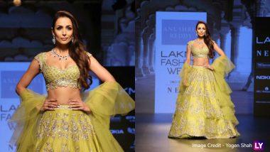 Lakme Fashion Week 2018: Malaika Arora Khan Looks MARVELOUS in a Lime Green Lehenga by Anushree Reddy – View Pics