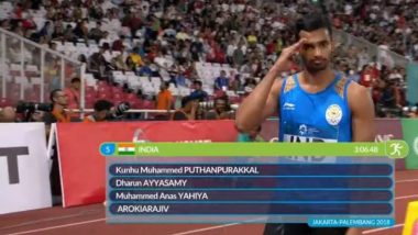 Indian Men's 4 x 400m Relay Team Wins Silver Medal at Asian Games 2018, Takes Medal Tally to 59