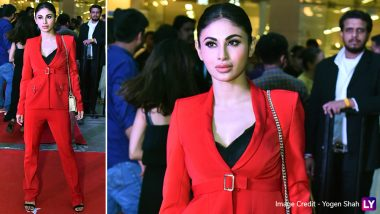 Mouni Roy Ups Her Power-Dressing Game In A Striking Red Ensemble During Gold Promotions But Did It Work? View Pics