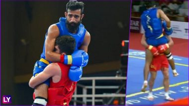 Sportsmanship at Its Best at Asian Games 2018! India's Injured Surya Singh Carried by Iran's Erfan Ahangarian Post Wushu Match (Watch Video)