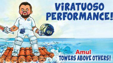 Virat Kohli Heroics During England vs India 1st Test Match Gets Amul Doodle! Calls it a 'Viratuoso Performance'