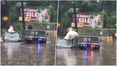 Bogota Police Rescue Bride, Groom From Flooded Car on Their Wedding Day; Watch Video