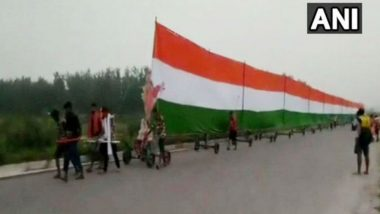 Kanwar Yatra: 35 Pilgrims Carry 361 Feet Long Tricolour, Watch