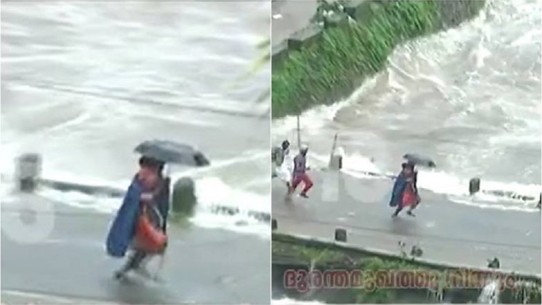 Watch Video: Seconds Before Cheruthoni Bridge in Kerala Goes Under Water, Rescue Worker Runs Across it With Child in Arms