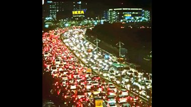 Photo of Massive Traffic Jam on Road Leading to IKEA Store in Hyderabad on Its First Day Goes Viral