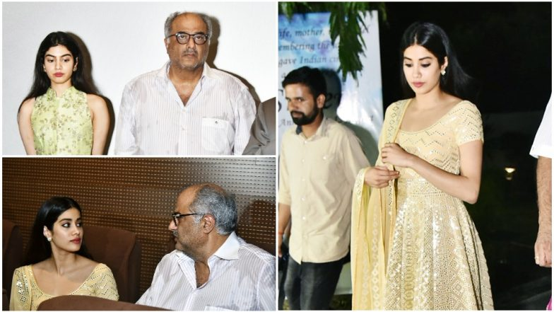 Image result for latest images of Janhvi Kapoor gets emotional at the special screening of Sridevi's film Mr India