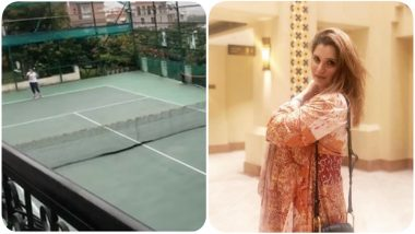 Would-Be Mother Sania Mirza Gets on to the Tennis Court With Sister Anam Mirza (Watch Video)