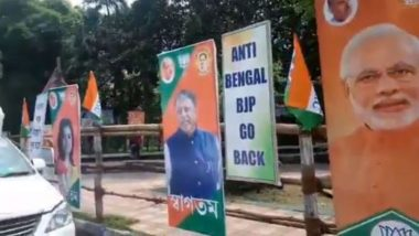 Watch: Posters Asking BJP to Leave Bengal at Amit Shah's Rally Venue