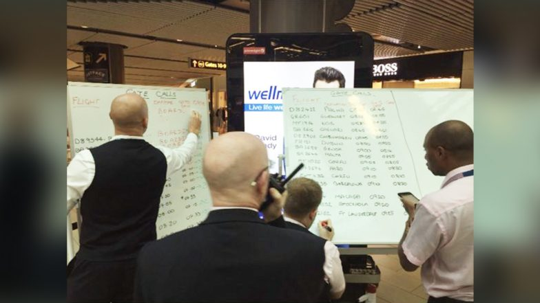 Britain Gatwick Airport Authorities Use White-Boards As Digital Screens Fail, Chaos Lead to Passengers Missing Flights