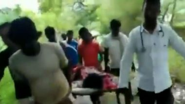 Patient Carried on Cot by Mayurbhanj Locals in Odisha as Bad Roads Prevent Ambulance From Reaching Spot; Watch Video