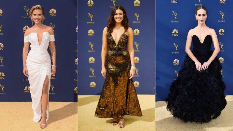 70th Emmy Awards 2018 Red Carpet: Scarlett Johansson, Mandy Moore, Samira Wiley Portray Many Ways To Rock A Plunging Neckline!